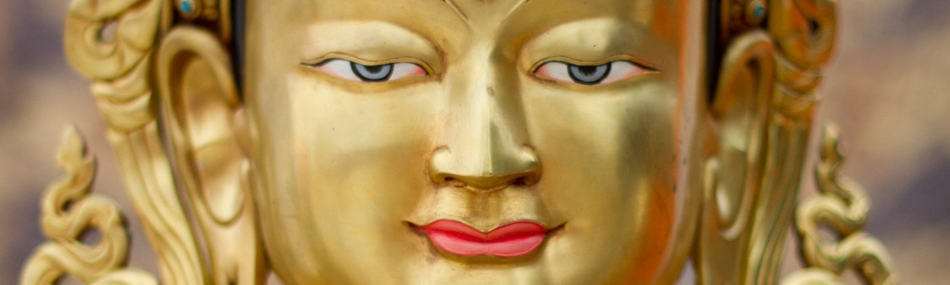 Close-up, face of a Buddha statue, Europe Center, 2013