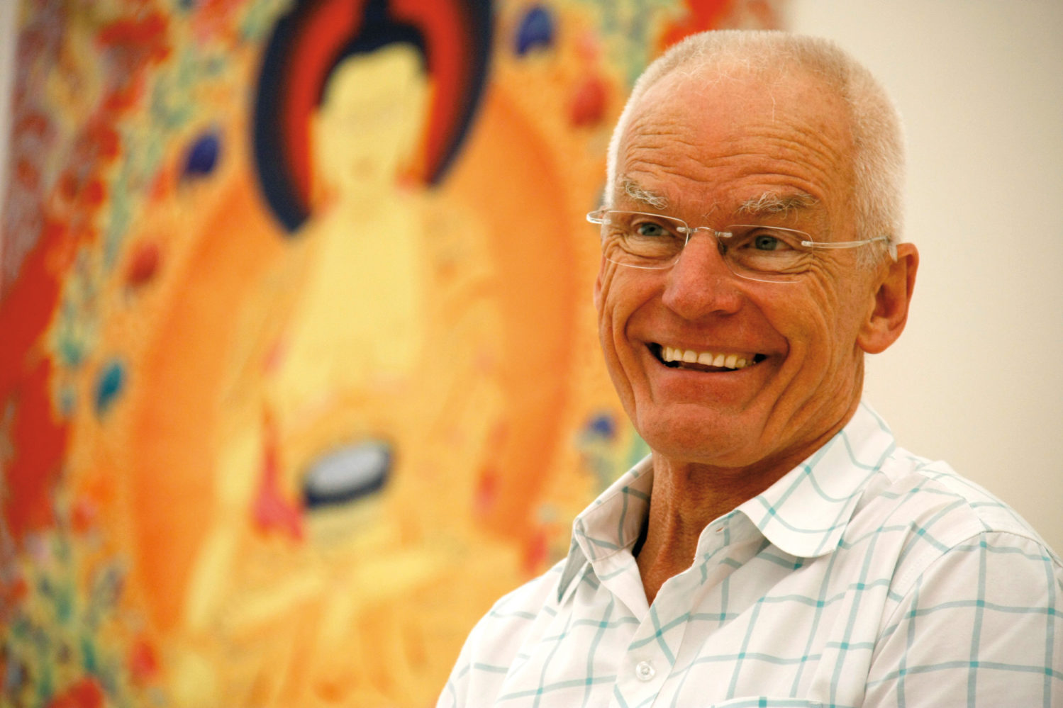 Portrait of Lama Ole Nydahl during one of his lectures